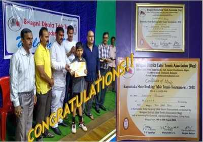 Won State level Table Tennis Tournament held at Belgaum